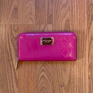 Michael Kors Hot Pink Zippered Wallet